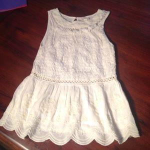 Anthropologie white blouse sleeveless lace XS